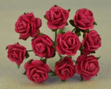 1 cm FUSCHIA PINK Mulberry Paper Roses
